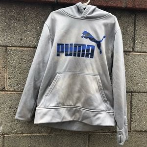 Puma Athletic Hoodie Pullover Grey Silver Sweater